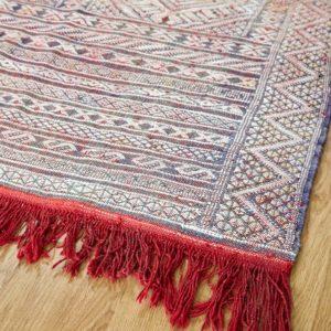 Kelim Teppich creme-rot pastell - Marokko-3059