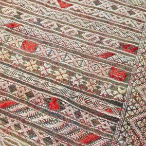 Kelim Teppich creme-rot pastell - Marokko-3060
