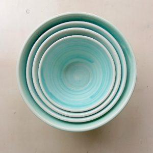 Keramikschale konische Form - türkis-3624