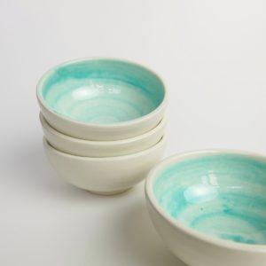 Handbemaltes Keramikschälchen - türkis-3653