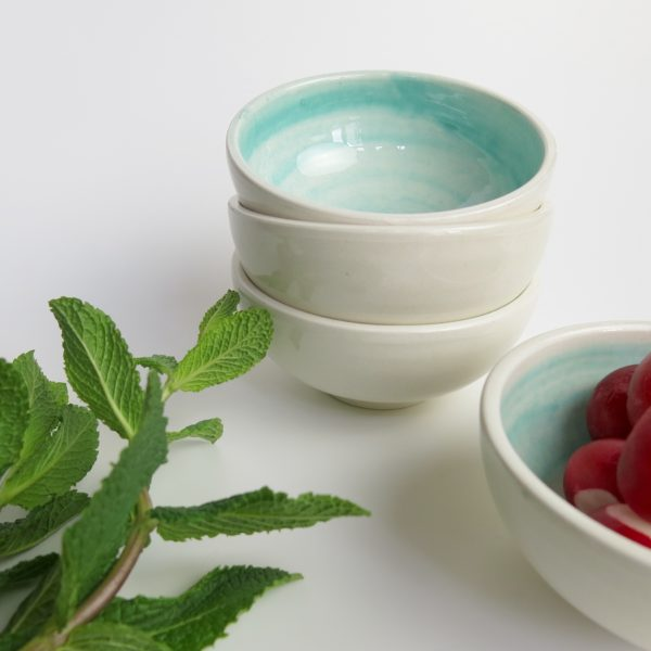 Handbemaltes Keramikschälchen - türkis-0