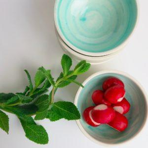 Handbemaltes Keramikschälchen - türkis-3654