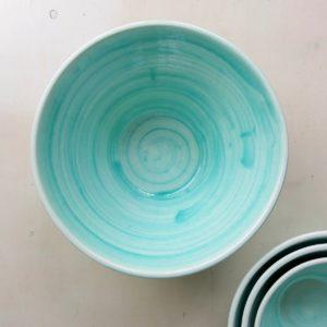 Keramikschale konische Form - türkis-3626