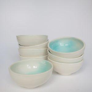 Handbemaltes Keramikschälchen - türkis-4439