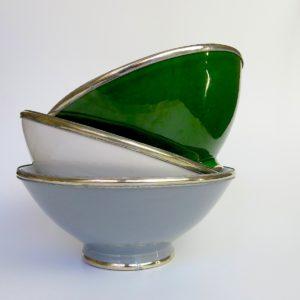 Marokkanische Keramik - Schale mit Silberrand-3924