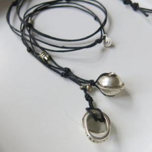 Kette mit Berber Silberperle und ovalem Silber-Ring-2797