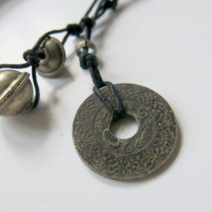 Unikat-Kette mit alter Münze und Berber Silberperlen-2772
