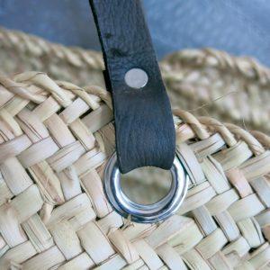 handgemachter Korb mit Ledergriff-4247
