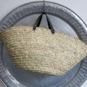 handgemachter Korb mit Ledergriff-4248