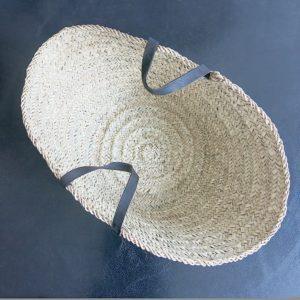 handgemachter Korb mit Ledergriff-4250