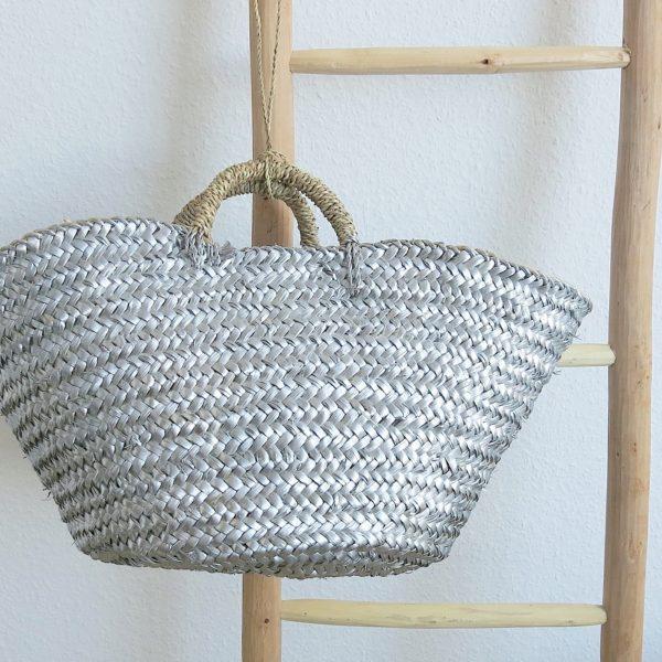 handgemachter Korb 'metallic Effect' - Palmblatt geflochten-0