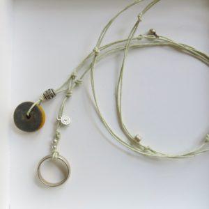 besondere Kette mit vintage Berber Ring und Harzperle-1540