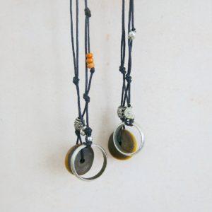 besondere Kette mit vintage Berber Ring und Harzperle-1550