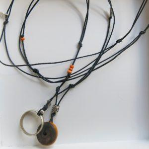 besondere Kette mit vintage Berber Ring und Harzperle-1551