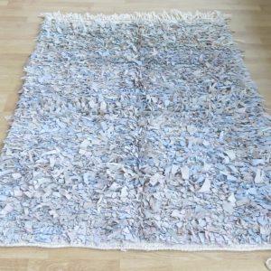 handgeknüpfter Lederfransen Teppich - Marokko-2620