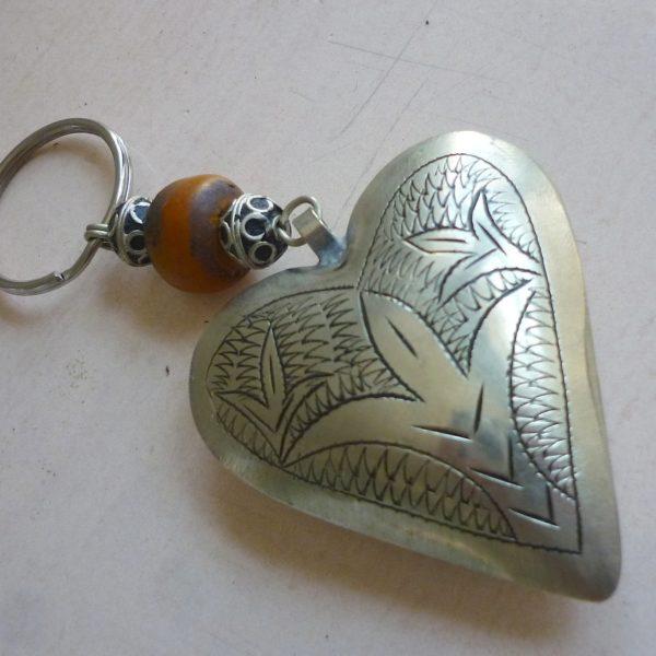 Schlüsselanhänger Silber Herz aus Maillechort Silber-0