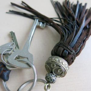 Schlüsselanhänger Leder-Pompon-1564