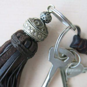 Schlüsselanhänger Leder-Pompon-1565