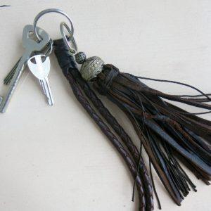 Schlüsselanhänger Leder-Pompon-1566