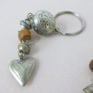 Schlüsselanhänger mit silbernem Mini Herz-1165