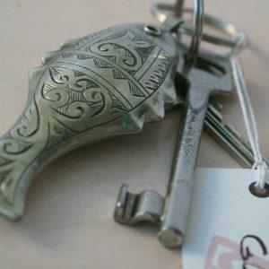 Schlüsselanhänger Silber-Fisch mit dekorativer Gravur-1121
