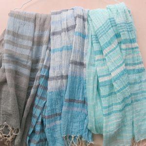 Schal aus feiner Baumwolle - gestreift-3591