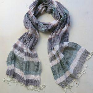 Schal aus feiner Baumwolle mit Streifen-0
