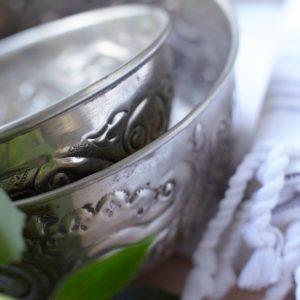 Hamamschale vintage - Silber mit dekorativem Ornament-1611