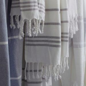 Baumwoll Hamamtuch - weiß mit farbigem Streifen-0
